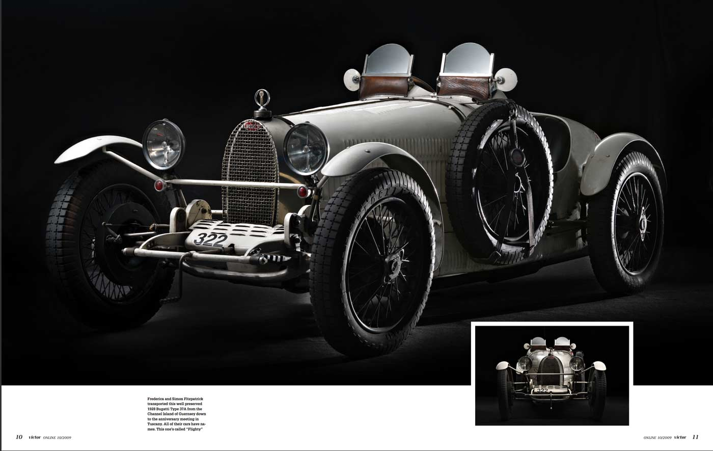"Double Page of Victor Magazine showcasing ""Flighty"" a Bugatti Type 37A owned by Frederica and Simon Fitzpatrick"