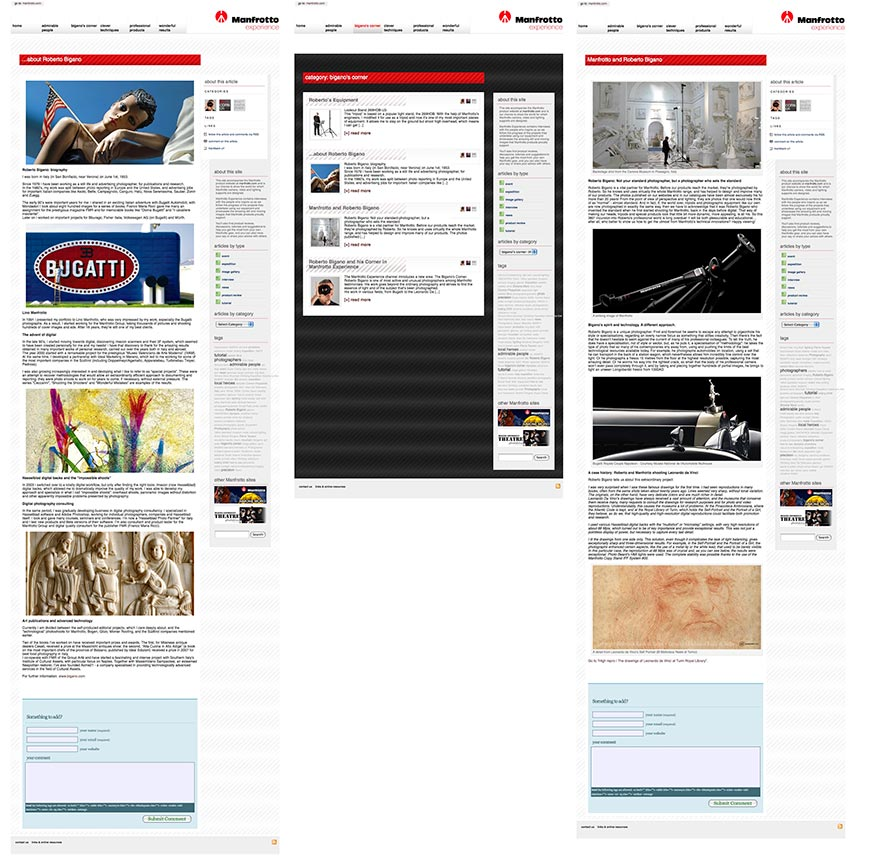 My pages and tutorials in Bigano's corner in Manfrotto School of Excellence Website